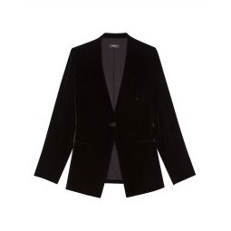 Velvet Single-Breasted Jacket