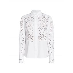 Eyelet Button-Front Shirt