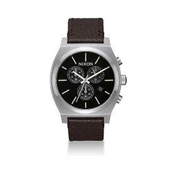 Time Teller Chronograph Leather Strap Watch