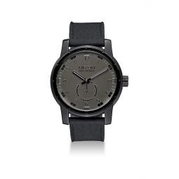 Patriot Stainless Steel & Leather Strap Watch
