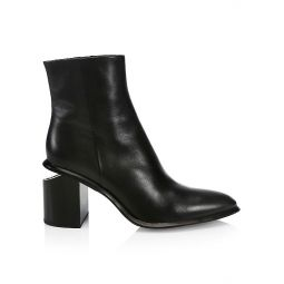 Anna Rhodium & Leather Ankle Boots