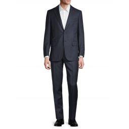 Standard-Fit Wool & Cashmere Birds-Eye Print Suit