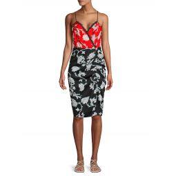 Floral Lace-Trim Faux Wrap Dress