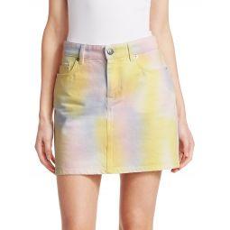 Paradise Tie Die Wash A-Line Denim Skirt