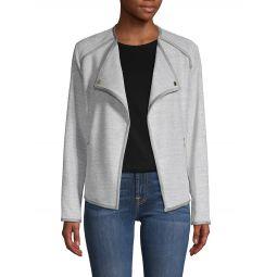 Contrast-Trimmed Open-Front Jacket