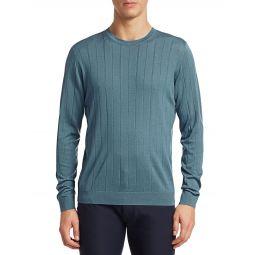 Vertical Stitch Wool Crewneck Sweater