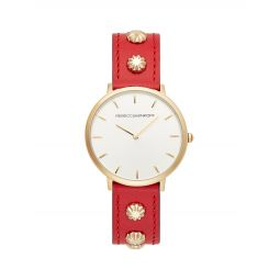 Major Urban Goldplated & Leather-Strap Watch