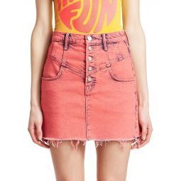 Swooner Distressed Hem A-Line Denim Skirt