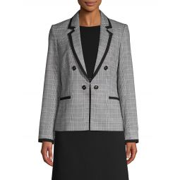 Plaid Notched Lapel Blazer