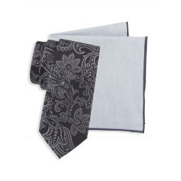 2-Piece Cotton & Silk-Blend Pocket Square & Embroidered Paisley Silk Tie Set