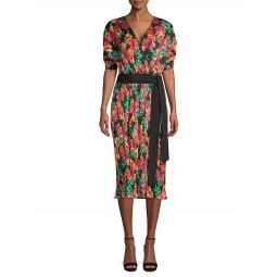 Autumn Watercolor-Print Midi Dress