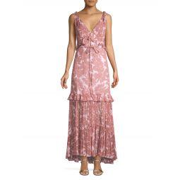Misha Ruffle Daisy Print Maxi Dress