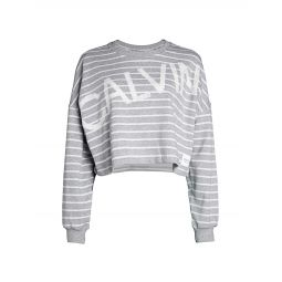 Logo Stripe Cropped Sweatshirt