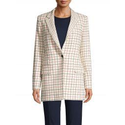 Grid-Print Wool-Blend Blazer