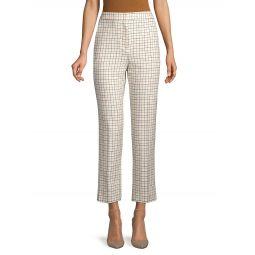 Tattersall-Print High-Waist Pants