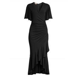 Ruffled Wrap Midi Dress