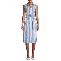 Striped Cotton Midi Shirt Dress