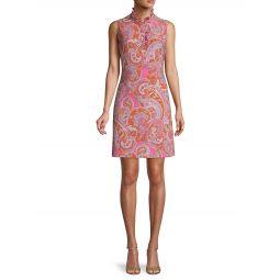 Ruffle-Trim Paisley-Print Dress