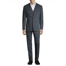 3-Piece Standard-Fit Linen & Wool-Blend Suit