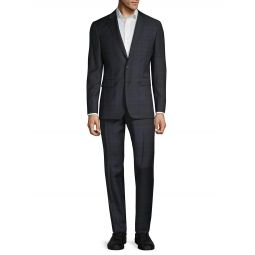 Standard-Fit Plaid Wool Suit