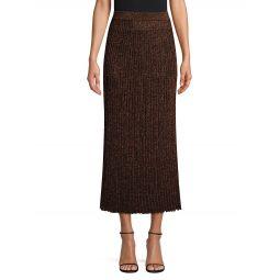 Metallic Rib-Knit Midi Skirt