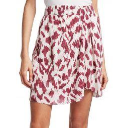 Yegart Abstract Print Silk Mini Skirt