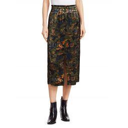 Floral Print Satin Midi Skirt