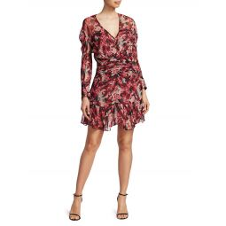 Wick Long-Sleeve Ruched Flounce Dress