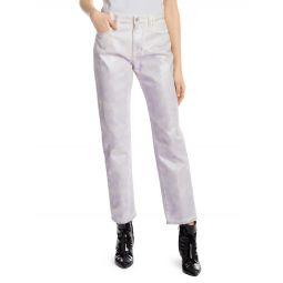 Iridescent High-Rise Straight-Leg Jeans