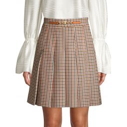 Pleated Check Mini Skirt