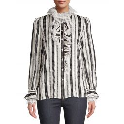 Striped Raw-Lace Ruffled Blouse