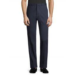 Linen-Blend Flat-Front Pants