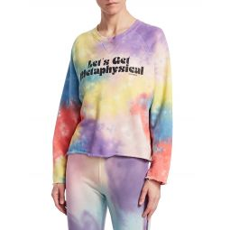 The Champ Crop Raw Rainbow Tie Dye Sweatshirt