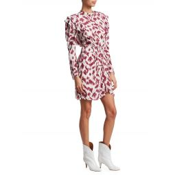 Yoana Printed Ruffled Silk Sheath Dress