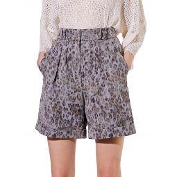 Vainness Leopard-Print Linen-Blend Shorts