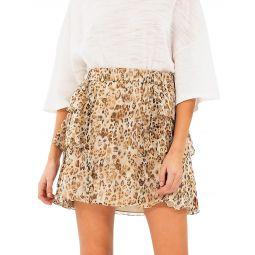 Moody Leopard Silk Tier-Ruffle A-Line Skirt