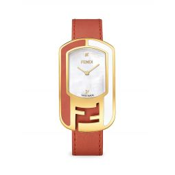 Chameleon Goldtone Stainless Steel, Mother-Of-Pearl & Diamond Leather-Strap Watch