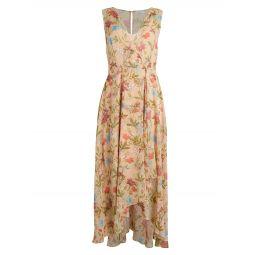 Floral Chiffon High-Low Wrap Dress