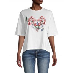 Embroidered Cotton-Blend Tee