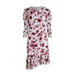 Lila Floral Asymmetric Flounce Dress