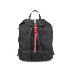 Studded Leather-Trim Flap Backpack