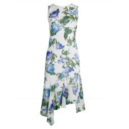 Floral Chiffon Asymmetric Flounce Dress