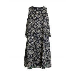 Paisley Floral Print Overlay Shift Dress