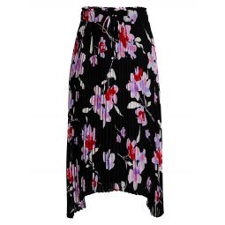 Floral Pleated Drawstring Skirt