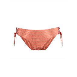 Tivoli Puckered Striped Lace-Up Bikini Bottom