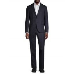 Modern-Fit Geometric Stretch-Wool Suit
