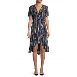 Polka Dot Chiffon Wrap Dress