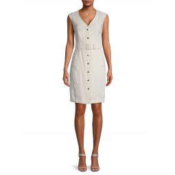 Belted Button-Up Sheath Dress