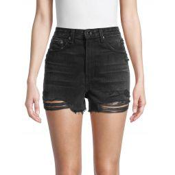 Maya High-Rise Ripped Denim Shorts