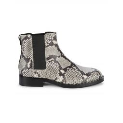 Snake-Print Leather Chelsea Boots